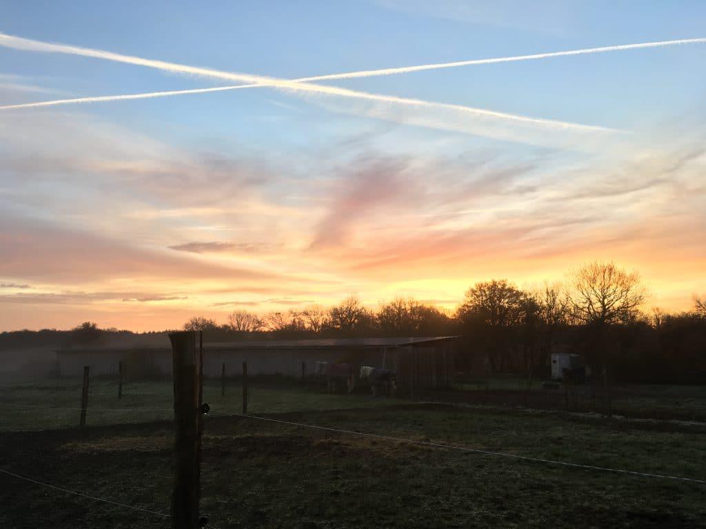 Couché de soleil à Aubigny